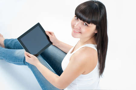 mobile internet: woman with tablet Stock Photo