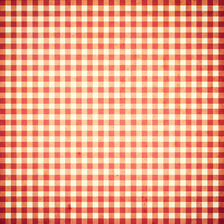 picnic cloth: red and white checked grunge vintage background with seamless pattern Stock Photo