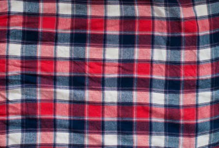 checked shirt: Crumpled red blue checked shirt texture Stock Photo