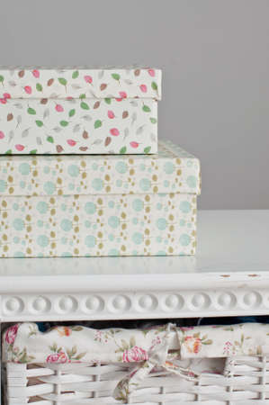 bedside: Light boxes on the white bedside table