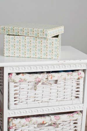 bedside: Light box on the white bedside table