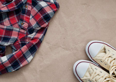 checked shirt: Crumpled red blue checked shirt  and shoes