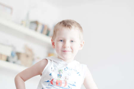 4 years old: little 4 years old boy is smiling Stock Photo