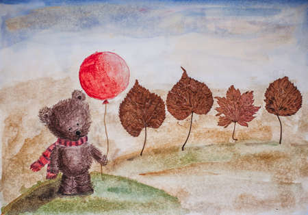 balloons teddy bear: childs autumnal picture - bear in a scarf with balloon and trees - dry leaves