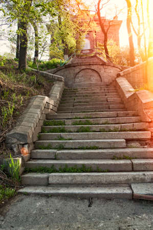 haunting: old antique stone stairs to abandoned haunting house