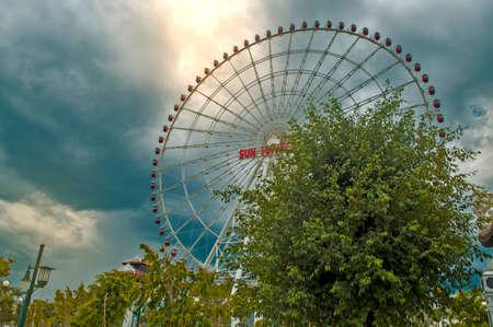 ferris wheel in the amusement park in asia, danang, vietnam