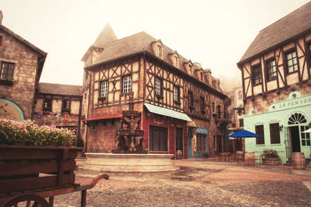 Old medieval buildings in abandoned ancient french village