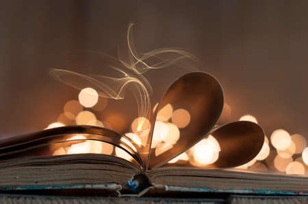 An open book with pages curved in shape of heart and bokeh light Foto de archivo - 117939682