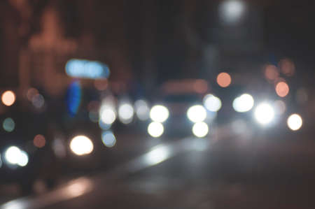 Defocused blur of city street lights at night abstract Stock Photo