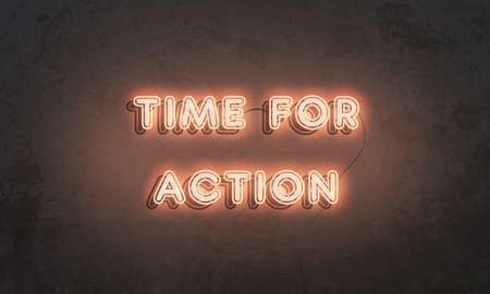Time for action. Neon motivational sign on grunge concrete wall 写真素材