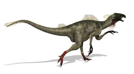 feathered: A Beipiaosaurus dinosaur is on the run. This dinosaur lived during the Cretaceous period. 3D render. Stock Photo