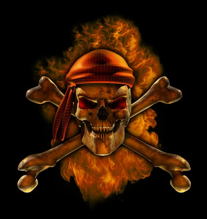 A flaming scorching hot pirate skull - 3D render with digital painting. photo
