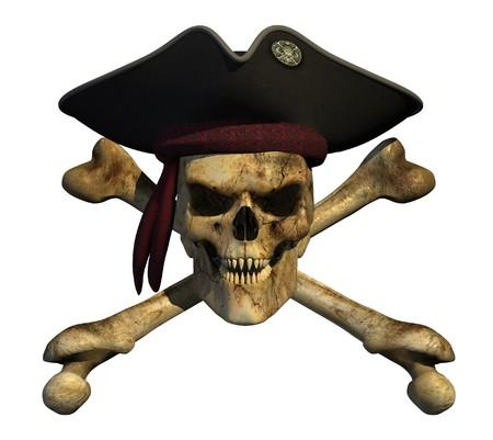 calavera pirata: Cr�neo de pirata de grunge con afilados dientes puntiagudos y una sonrisa malvada.