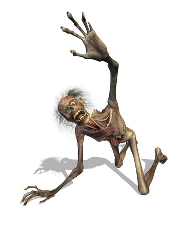 rendering: A zombie crawls out of the grave and shrieks in horror at what he has become - 3D render