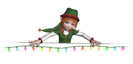 Let Santas elf help to add some holiday cheer to your documents and posters! Santas elf is hanging a string of colorful Christmas lights along and edge or border - 3D render. photo