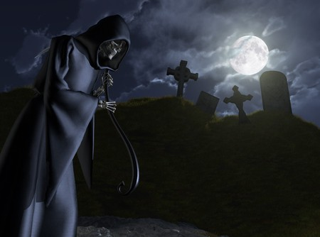 takes: The Grim Reaper takes a moonlit stroll through a small, abandoned cemetery - 3D render.
