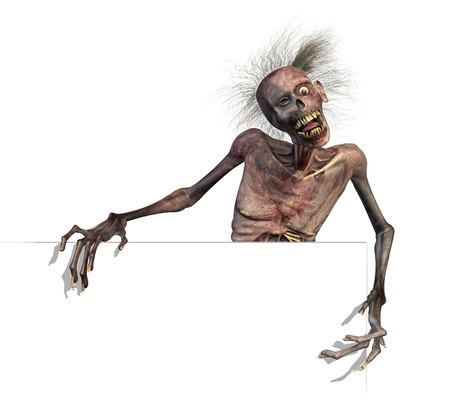 A zombie holds on to the edge of a blank sign or border - 3D render.