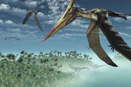 Three Pteranodon Longicepts fly over a misty prehistoric seascape, with two diplodocus dinosaurs near the shore - 3D render.