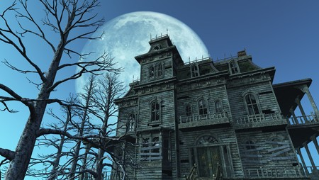 spooky house: A spooky old haunted house on a moonlit night - 3D render.