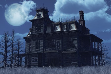abandoned house: An old abandoned, boarded up house sits surrounded by dry weeds on a moonlit night - 3D render.