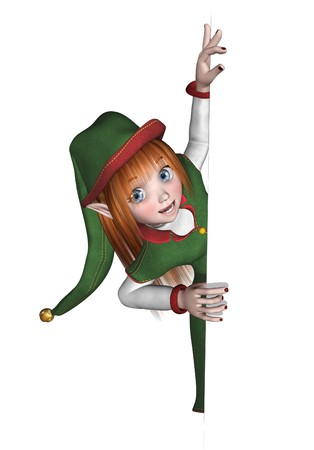 elves: Santas Elf is looking around the edge of a border or frame - 3D render. Stock Photo