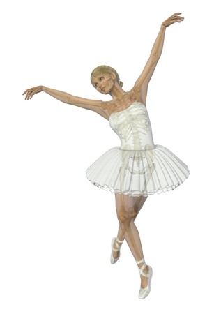 overlays: A 3D render of a ballet dancer, semi-transparent with skeleton. Stock Photo
