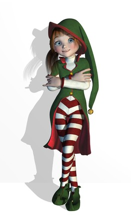 elves: Santas Elf in a relaxed pose, she can be leaning against a wall, edge or your product - 3D render.