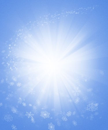 radiant light: A light blue winter themed background with radiant light in the center, surround by a swirl of snow flurries. Stock Photo