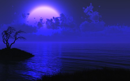 placement: A midnight shore with a large mysterious moon - 3D render. The right side has been left relatively clear for placement of your text or image.