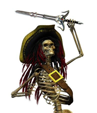 A skeleton pirate with dreadlocks is raising his sword - 3D render. Stock Photo - 7972870