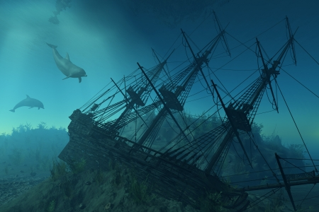 shipwreck: Curious dolphins approach the wreckage of a sunken ship beneath the sea.