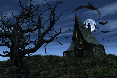 3d scary: A witchs house sits on a hill, surrounded by bats, overlooking an old twisted tree and a twilight sky - 3D render.