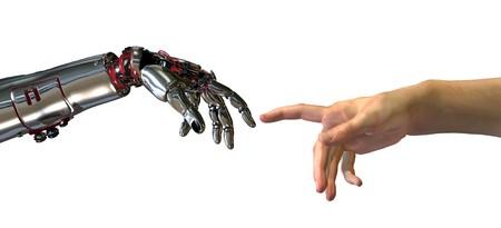 """robot: Robota i ludzi rÄ™ce prawie dotkniÄ™cia - renderowania 3D. Nowoczesne odbioru na sÅ'ynnej malowanie Michelangelo w Kaplica SykstyÅ""""ska; zatytuÅ'owanÄ… Tworzenie Adam. Zdjęcie Seryjne"""