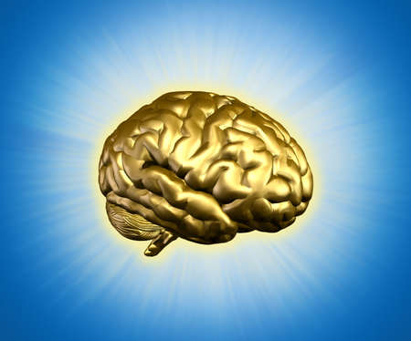 Golden radiant brain - combines 3D render with digital painting.