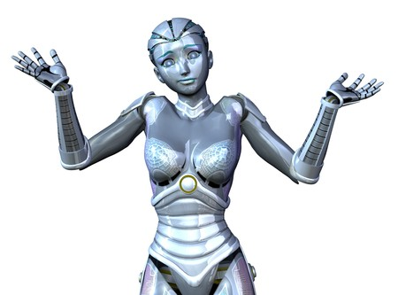 3D render featuring a very perplexed robot, shrugging her shoulders and wondering what she will do next. Stock Photo