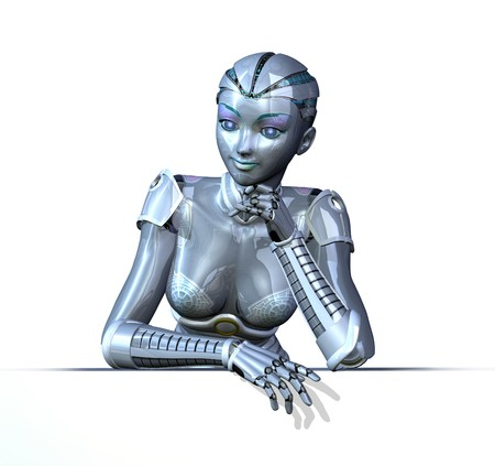 robot: 3D render featuring a female robot in a relaxed pose; leaning on an edge.