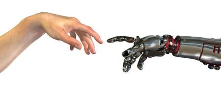 casi: Humanos y robot manos casi tocar - procesamiento 3D. Una moderna toma en la famosa pintura de Miguel Angel en la Capilla Sixtina. titulado la creaci�n de Ad�n Foto de archivo