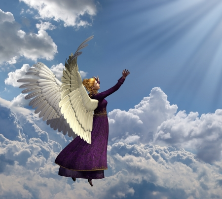 christian angel: An angel reaches for heavenly light - this images is a comination of 3D rendering, several digital photographs, and digital painting. All elements by me. Stock Photo