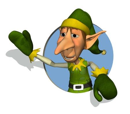 elves: 3D render of Santas Elf waving through a circle.