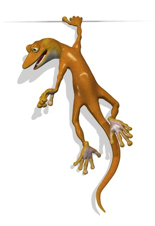 3D render of a cartoon gecko holding on to an edge.