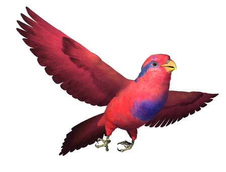 render: 3D render depicting a Red and Blue Lory in flight Stock Photo