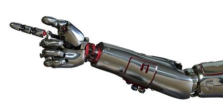 mano robotica: 3D de procesamiento de un brazo de robot apuntando.  Foto de archivo