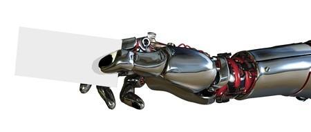 mano robotica: 3D de procesamiento de un brazo rob�tico sosteniendo una tarjeta de visita.