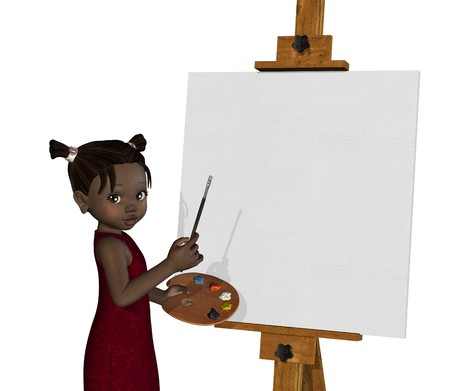 art painting: 3D render of a cartoon african girl who is about ready to paint on a blank canvas.