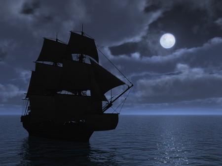 Tall ship in moonlight - 3d render. Stock Photo