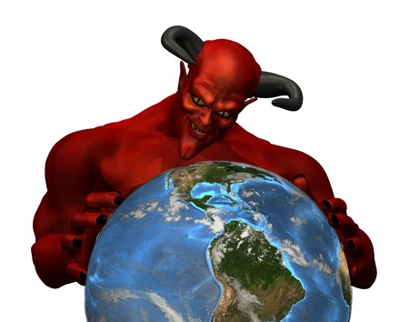 3d render depicting the devil in control of the earth Stock Photo - 7972874