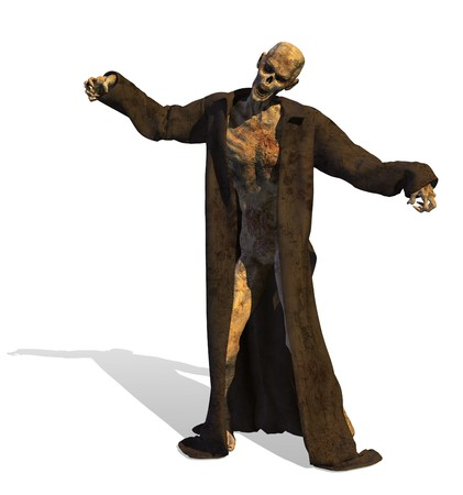 3D render of a zombie.