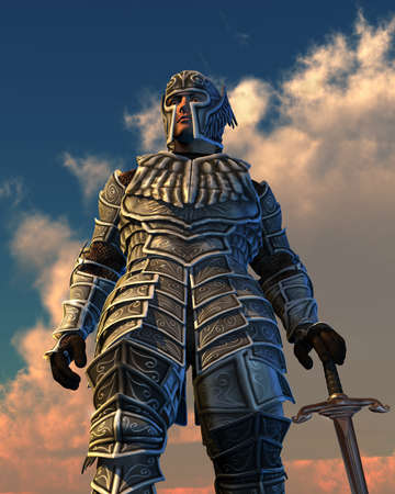 Looking up at armored knight against a dramatic sky - 3D render.