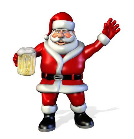 Santa holding a mug of beer - 3d render.