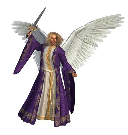 3D render de l'Archange Michael, tenant une épée. Banque d'images